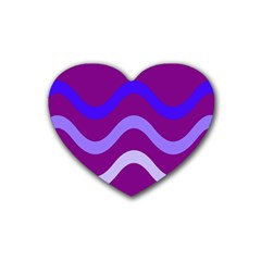 Purple Waves Heart Coaster (4 Pack)  by Valentinaart