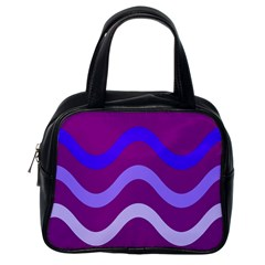 Purple Waves Classic Handbags (one Side) by Valentinaart