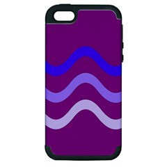 Purple Waves Apple Iphone 5 Hardshell Case (pc+silicone) by Valentinaart