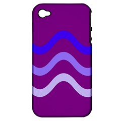 Purple Waves Apple Iphone 4/4s Hardshell Case (pc+silicone) by Valentinaart