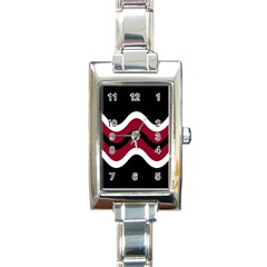Decorative Waves Rectangle Italian Charm Watch by Valentinaart