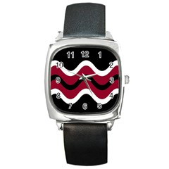 Decorative Waves Square Metal Watch by Valentinaart