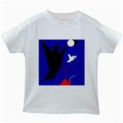 Night Birds  Kids White T Shirts by Valentinaart