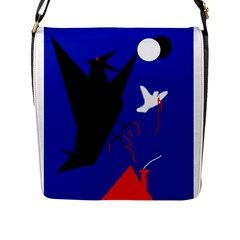 Night Birds  Flap Messenger Bag (l)  by Valentinaart