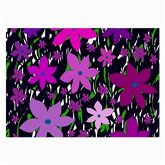 Purple Fowers Large Glasses Cloth (2-Side) by Valentinaart