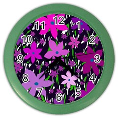 Purple Fowers Color Wall Clocks by Valentinaart