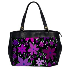 Purple Fowers Office Handbags by Valentinaart