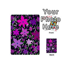 Purple Fowers Playing Cards 54 (mini)  by Valentinaart