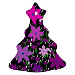 Purple Fowers Christmas Tree Ornament (2 Sides) by Valentinaart