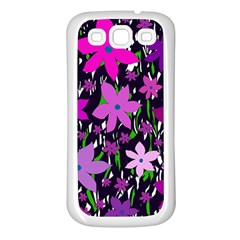 Purple Fowers Samsung Galaxy S3 Back Case (white) by Valentinaart