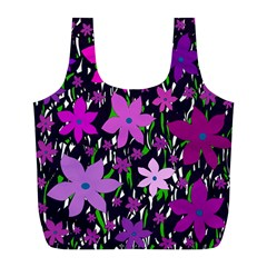 Purple Fowers Full Print Recycle Bags (l)  by Valentinaart