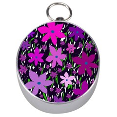 Purple Fowers Silver Compasses by Valentinaart