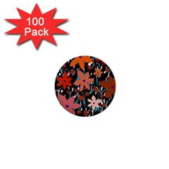 Orange flowers  1  Mini Buttons (100 pack)  by Valentinaart