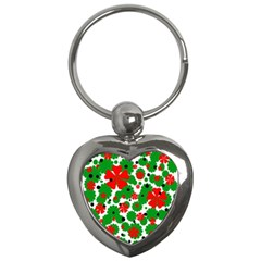 Red And Green Christmas Design  Key Chains (heart)  by Valentinaart