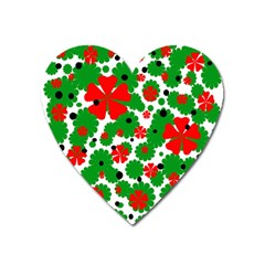 Red And Green Christmas Design  Heart Magnet by Valentinaart