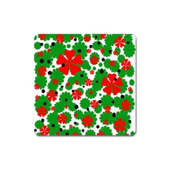 Red And Green Christmas Design  Square Magnet by Valentinaart