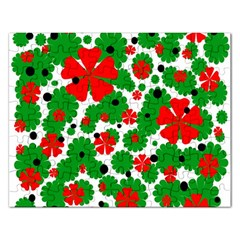 Red And Green Christmas Design  Rectangular Jigsaw Puzzl by Valentinaart