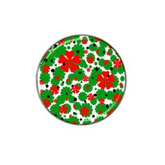 Red And Green Christmas Design  Hat Clip Ball Marker (10 Pack) by Valentinaart