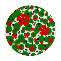 Red and green Christmas design  Round Ornament (Two Sides)