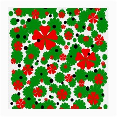 Red And Green Christmas Design  Medium Glasses Cloth by Valentinaart