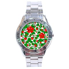 Red And Green Christmas Design  Stainless Steel Analogue Watch by Valentinaart