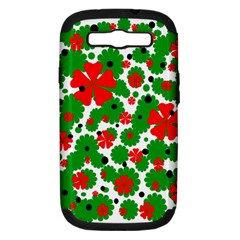 Red And Green Christmas Design  Samsung Galaxy S Iii Hardshell Case (pc+silicone) by Valentinaart