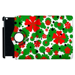 Red And Green Christmas Design  Apple Ipad 2 Flip 360 Case by Valentinaart