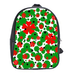 Red And Green Christmas Design  School Bags (xl)  by Valentinaart