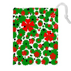 Red And Green Christmas Design  Drawstring Pouches (xxl) by Valentinaart