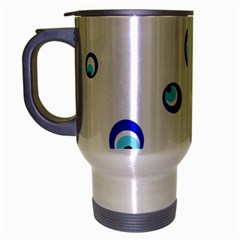 Mediterranean Blue Eyes Travel Mug (silver Gray) by Valentinaart