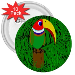 Toucan 3  Buttons (10 Pack)  by Valentinaart