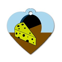 Cheese  Dog Tag Heart (one Side) by Valentinaart