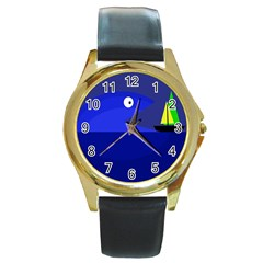 Blue Monster Fish Round Gold Metal Watch by Valentinaart