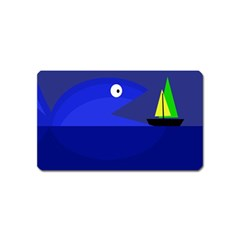 Blue monster fish Magnet (Name Card) by Valentinaart
