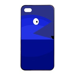 Blue Monster Fish Apple Iphone 4/4s Seamless Case (black) by Valentinaart