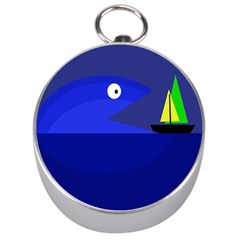 Blue Monster Fish Silver Compasses by Valentinaart