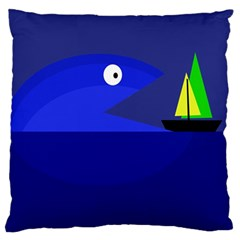 Blue Monster Fish Standard Flano Cushion Case (one Side) by Valentinaart