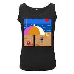 On The Beach  Women s Black Tank Top by Valentinaart