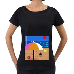 On the beach  Women s Loose-Fit T-Shirt (Black) by Valentinaart
