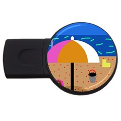 On The Beach  Usb Flash Drive Round (4 Gb)  by Valentinaart