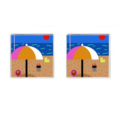 On The Beach  Cufflinks (square) by Valentinaart