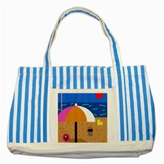 On The Beach  Striped Blue Tote Bag by Valentinaart