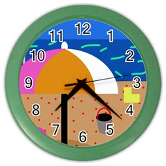 On The Beach  Color Wall Clocks by Valentinaart