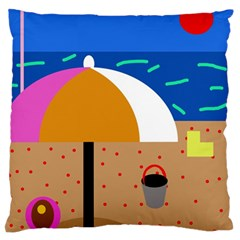 On The Beach  Large Flano Cushion Case (two Sides) by Valentinaart