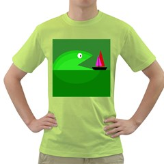 Green Monster Fish Green T Shirt by Valentinaart