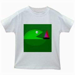 Green Monster Fish Kids White T Shirts by Valentinaart