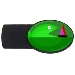 Green Monster Fish Usb Flash Drive Oval (2 Gb)  by Valentinaart