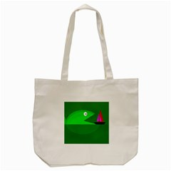 Green Monster Fish Tote Bag (cream) by Valentinaart