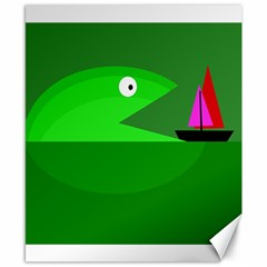 Green Monster Fish Canvas 8  X 10  by Valentinaart