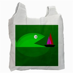 Green Monster Fish Recycle Bag (one Side) by Valentinaart